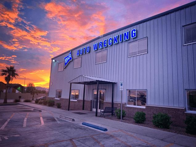B&R storefront at sunset