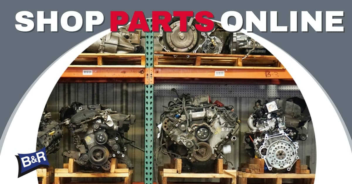 """Engines on shelves with text """"Shop Parts Online"""""""