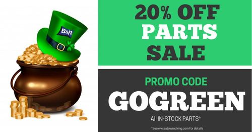"""A pot of gold with a green hat and the text """"20% off parts sale"""""""